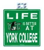 STICKER 3X4 LIFE IS BETTER AT YORK COLLEGE