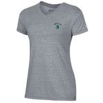 CHAMPION LADIES S/S T-SHIRT V-NECK TRI BLEND WITH LEFT CHEST ARCHED YORK COLLEGE
