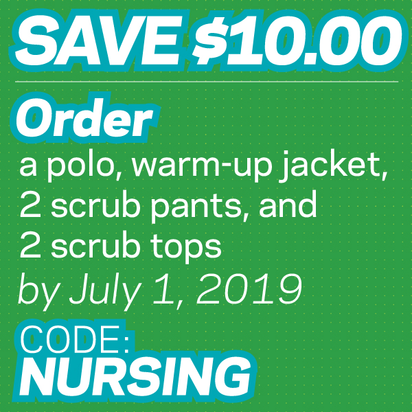 Save $10 when you purchase a polo, warm-up jacket, 2 scrub pants, and 2 scrub tops